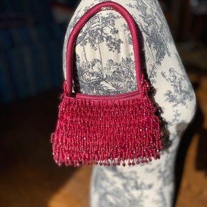Handbags - Magenta beaded mini handbag